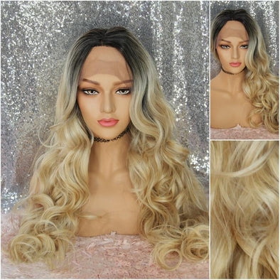 Ombre Different blends of Blonde ,Blonde Lace Front Wig, Deep Curls with Dark Roots, Swiss Lace Front, Heat Resistant Wig