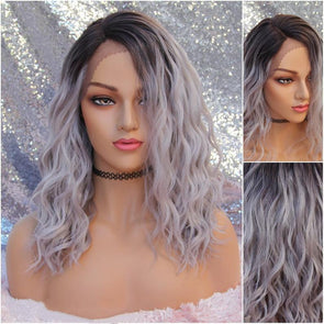 Light Ashy Silvery Lilac Lace front Wig, Loose Waves, Beach Curls, HEAT SAFE, natural wig for everyday use, cosplay