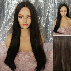Long Dark Brunette Wig, Dark Brown Wig, Very Natural Wig for Chemo, Baby Hairs on Hairline, Cosplay Wig