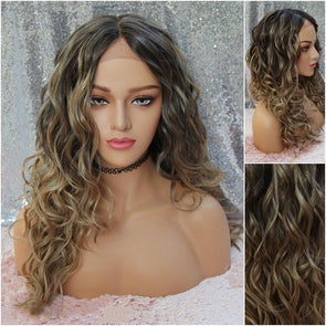 Blonde Ombre Balayage Swiss Lace Front Wig, Short Blonde Heat Safe Wig Natrual Parting, Everyday and Cosplay