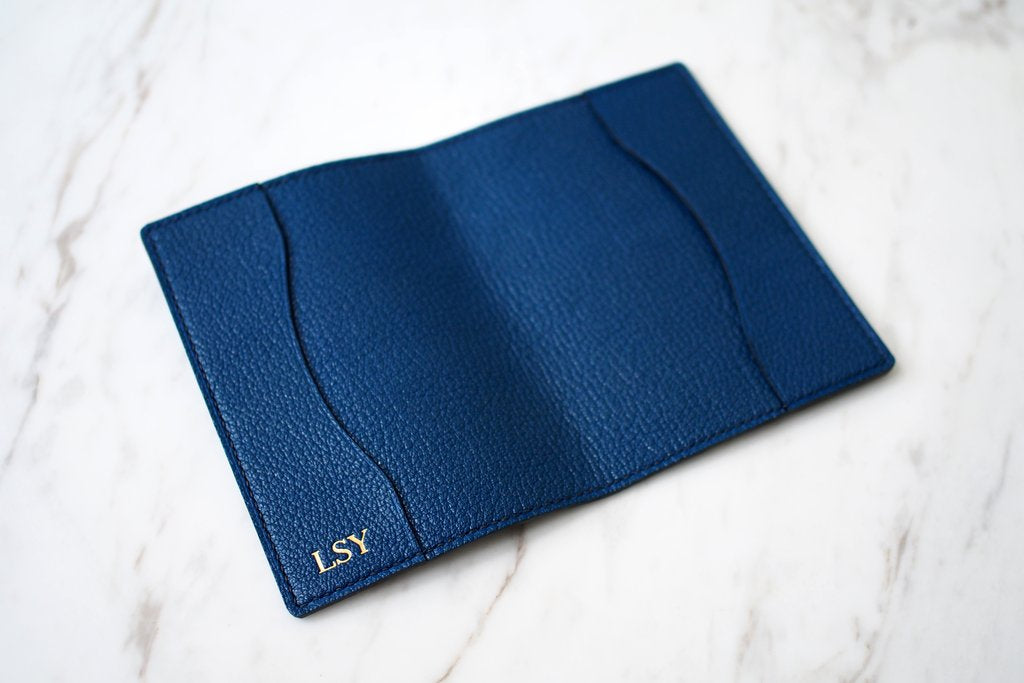 luxury french goat skin leather passport holder