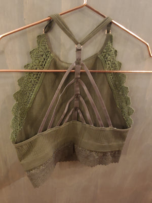 High Neck Crochet trim Olive Bralette