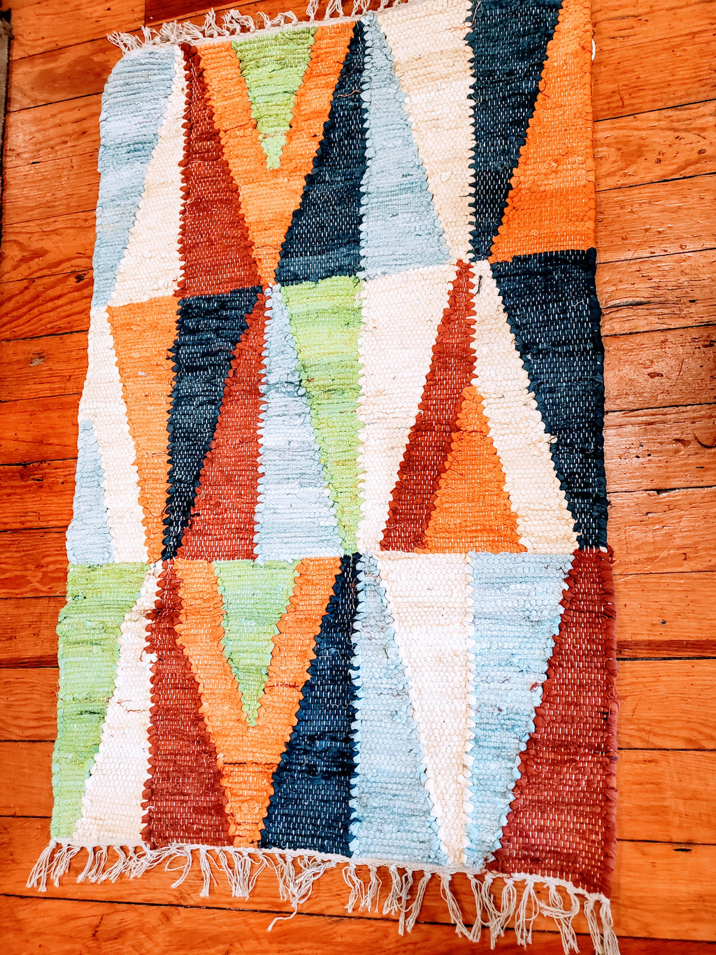 Multi Color Geo Pattern Jute Rug