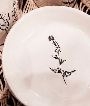 Botanical White Small Ceramic Plate