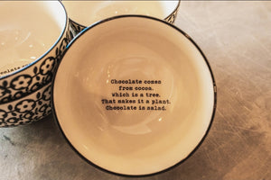 Chocolate Comes From Cocoa bowl