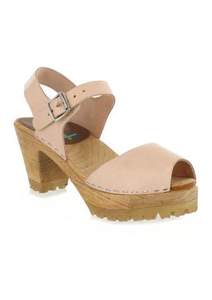Wood Mary Jane Clog Heels
