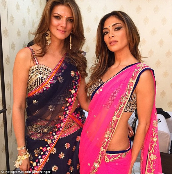 Nicole Scherzinger in fuschia pink saree at Hinduja wedding