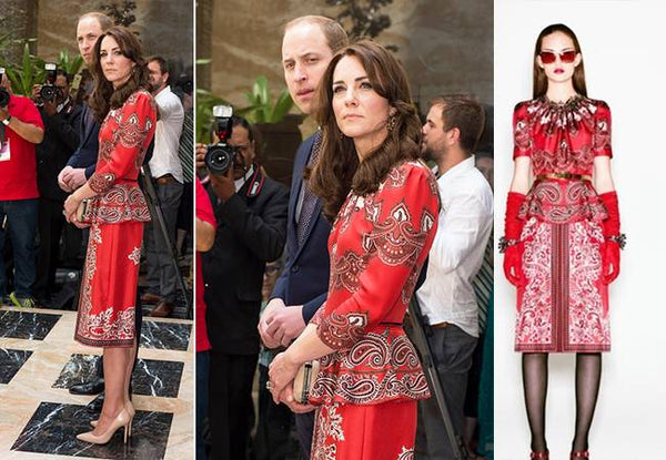 Kate Middleton arrived in this Alexander McQueen Printed Peplum Suit