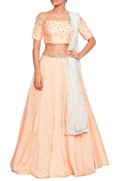 Peach Off Shoulder Blouse & Skirt Set