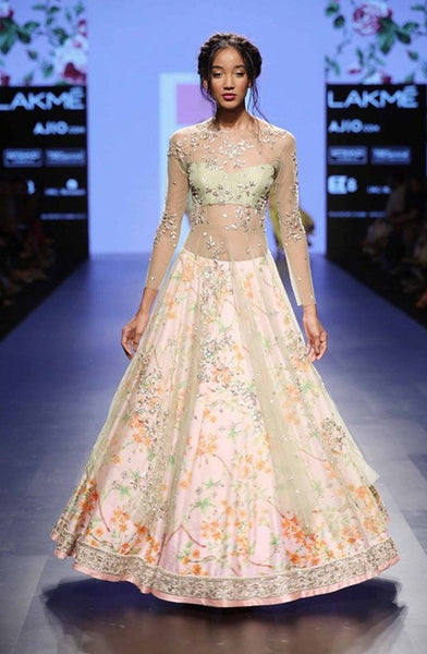Fluid Fabric And Floral Print Lehenga