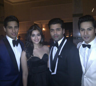 Cast of Bollywood hit Student of the Year with Director Karan Johar (centre)