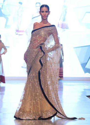 Manish Malhotra Pale Gold Saree