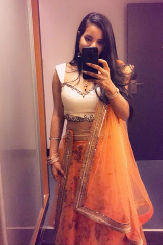 Orange Floral Lehenga