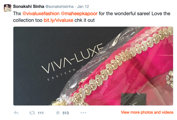 Bollywood Starlet Sonakshi Sinha Thanks VIVA-LUXE for her wonderful saree!