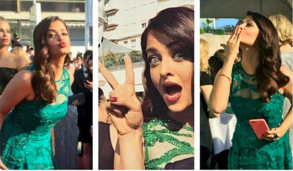 Aishwarya Rai Bachchan at Cannes 2015 Photobombing