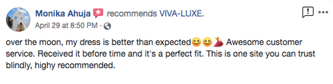 VIVA-LUXE Facebook Review