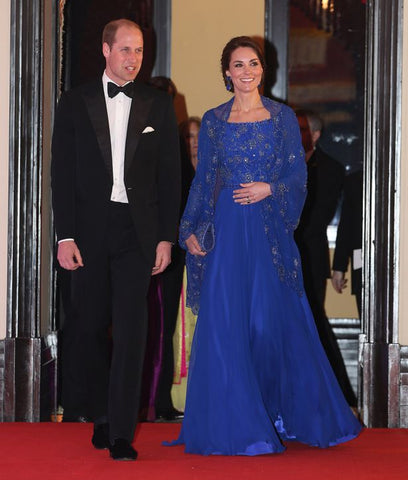 Kate and William at Royal Gala Dinner. Kate Wears Jenny Packham