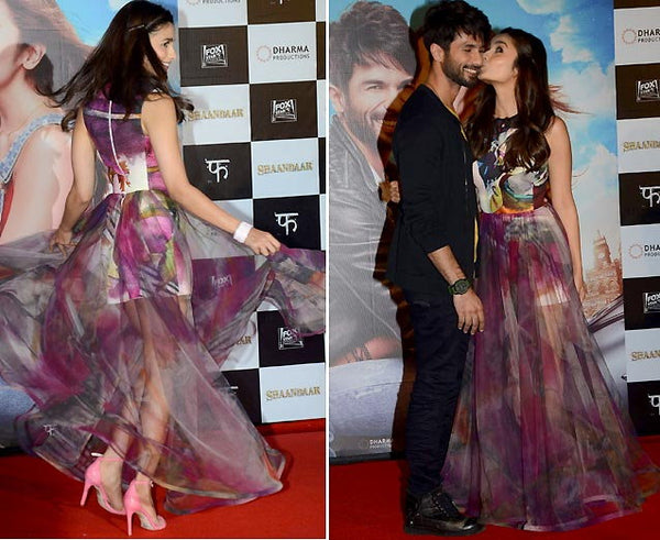 Alia Bhatt wears Gauri and Nainika gown at Shandaar promos with Shahid Kapoor