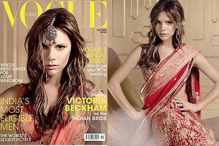 Victoria Beckham in a Saree