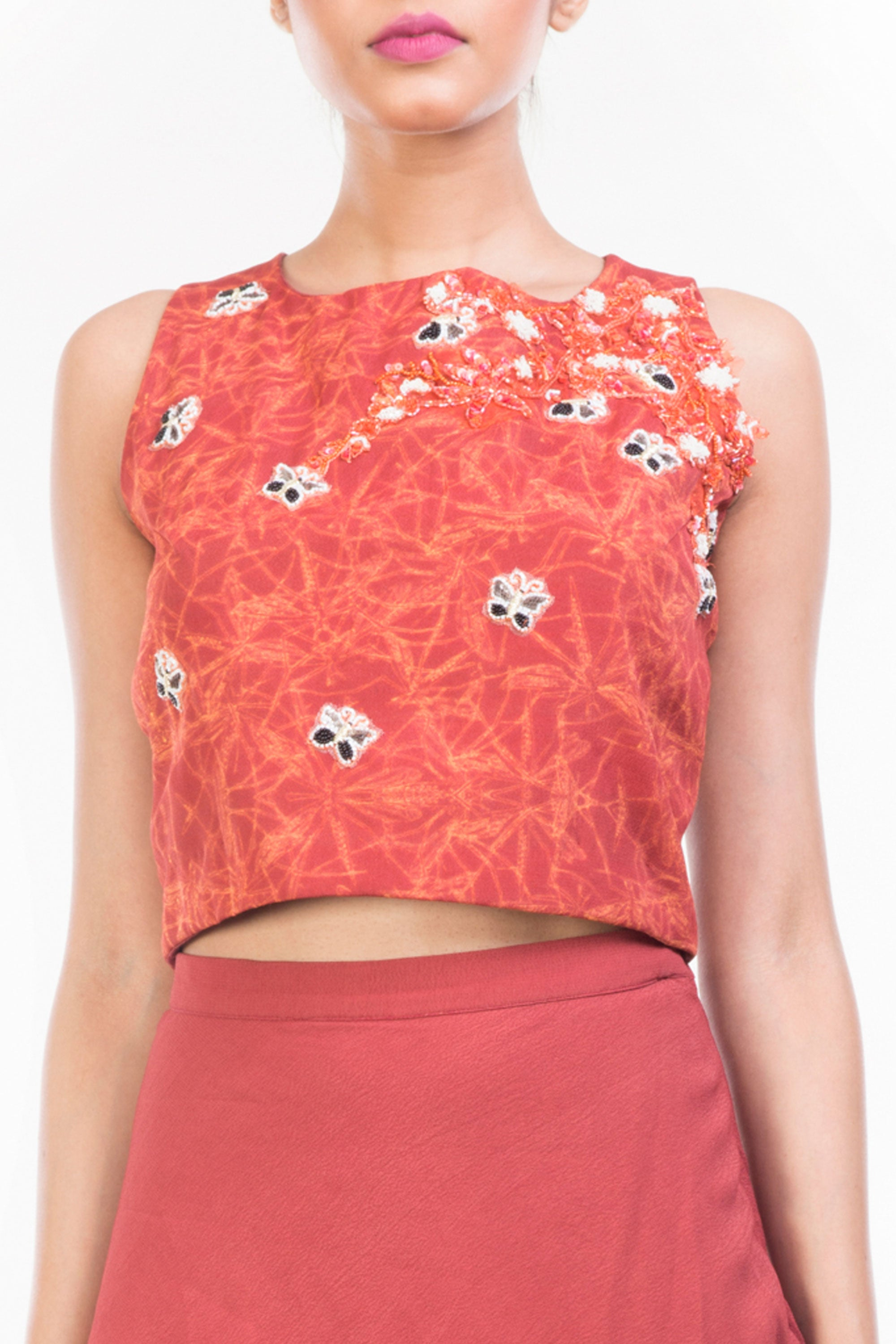 Printed Crop Top & Pencil Skirt Set Closeup