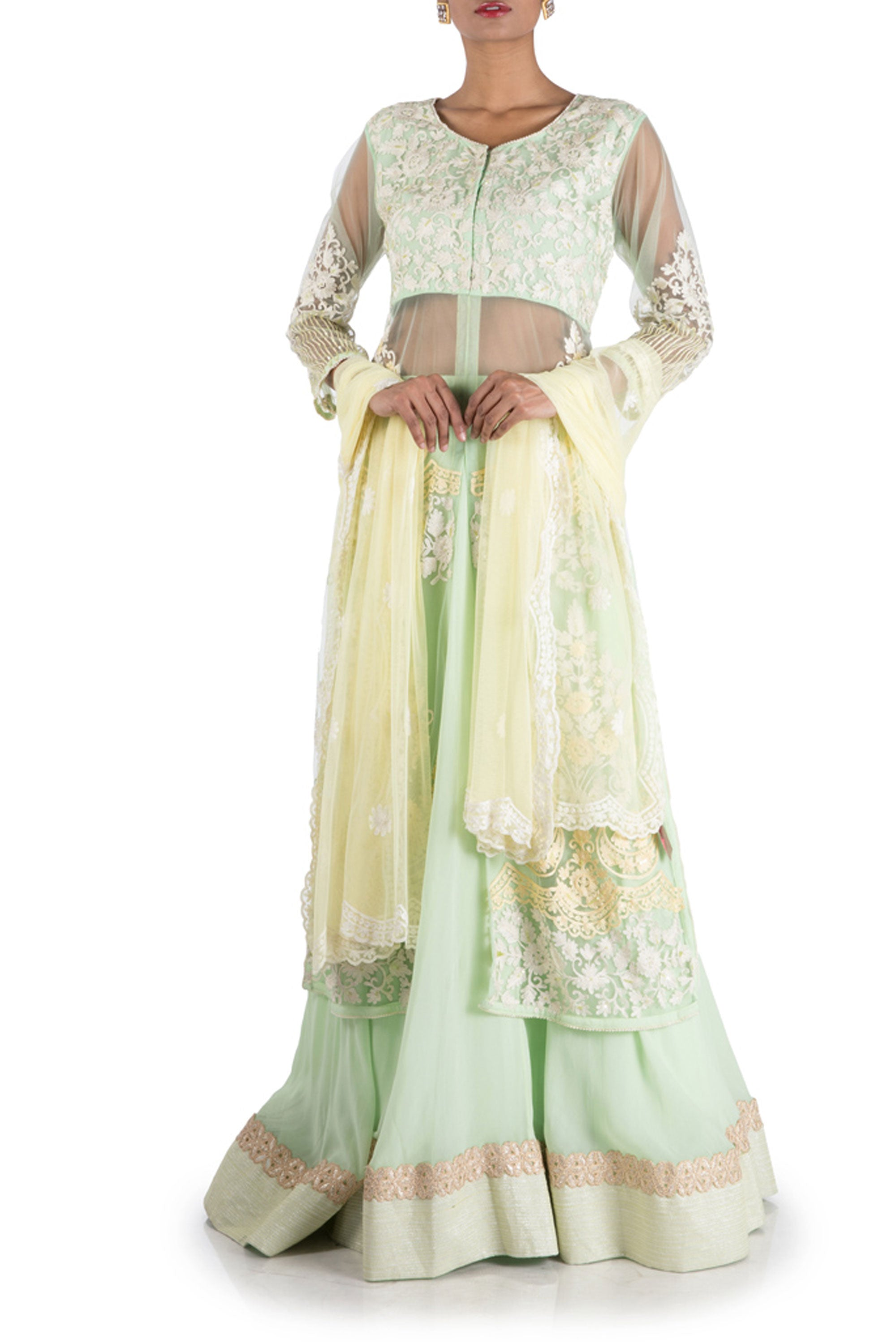 Pastel Green Sheer Jacket Lehenga Set Front