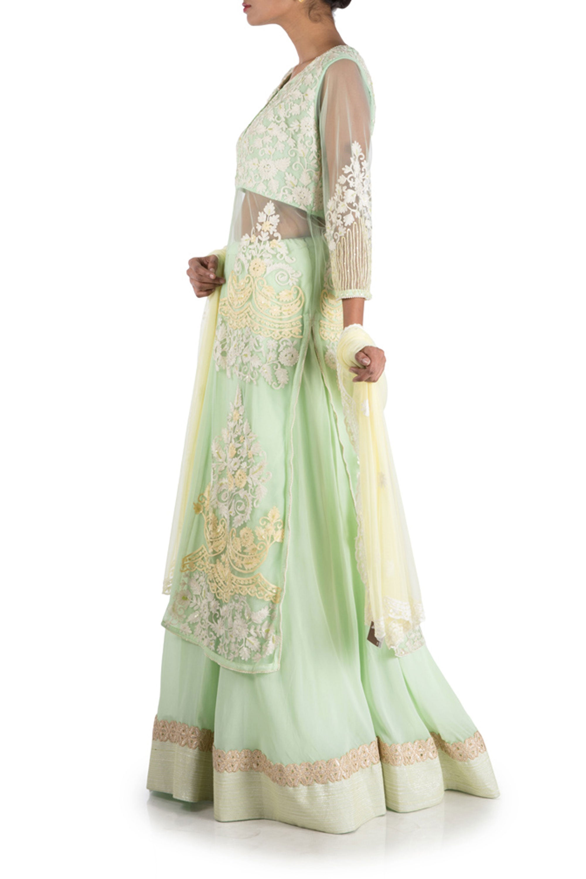 Pastel Green Sheer Jacket Lehenga Set Side