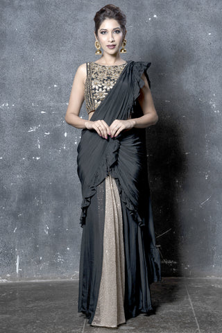Golden & Black Drape Saree With Blouse FRONT