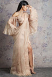 Beige Organza Saree With Pleated Bell Sleeves Blouse