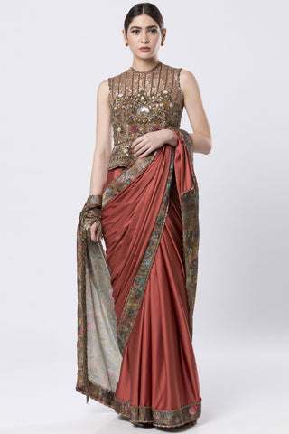 Rust Orange Satin  Saree With Heavy Embroidered Blouse FRONT