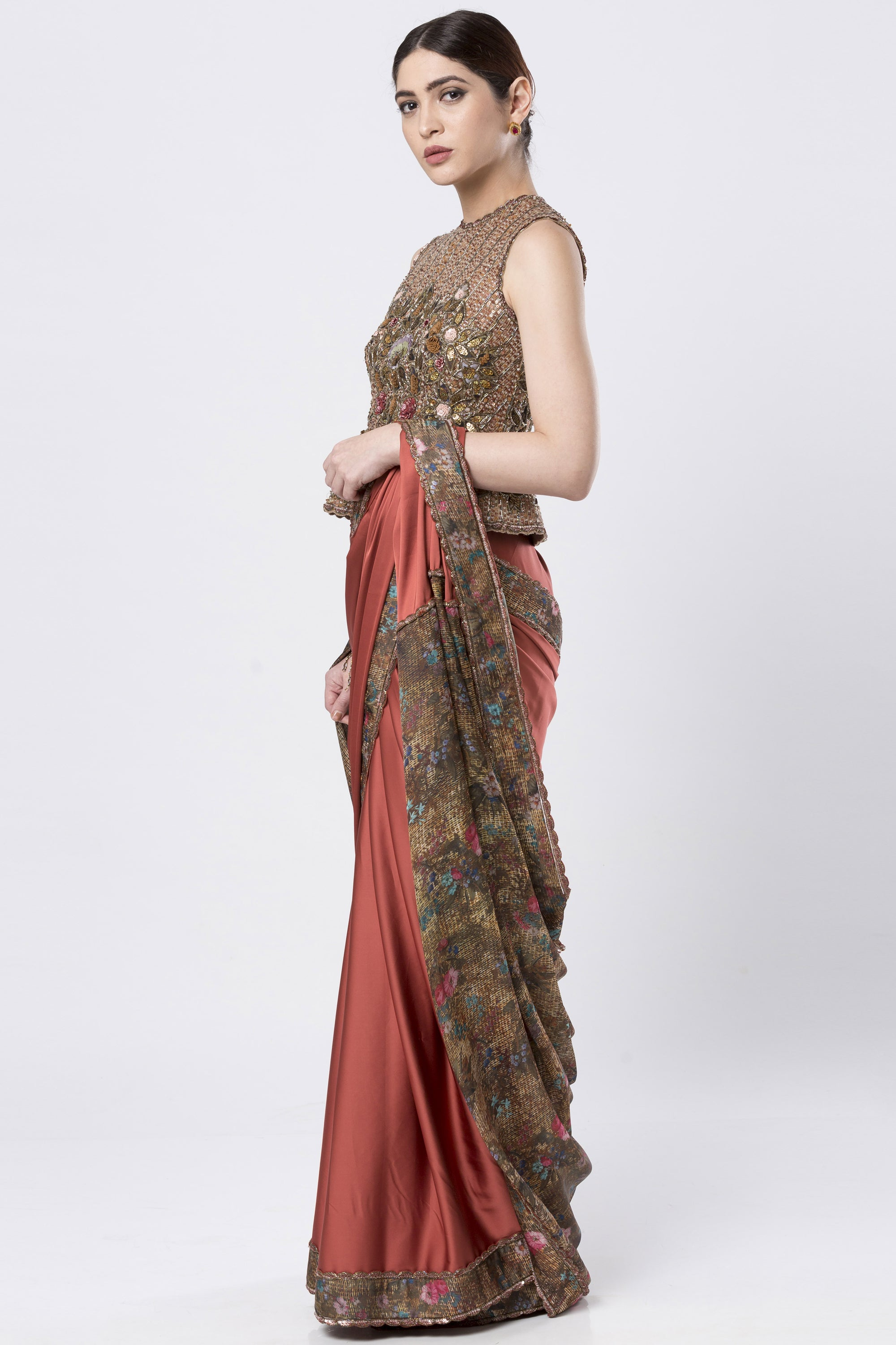 Rust Orange Satin  Saree With Heavy Embroidered Blouse SIDE