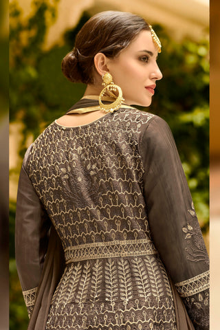 Dark Grey Floral  Anarkali & Dupatta