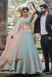 Arctic Blue Green Lehenga With Blouse & Rose Pink Dupatta