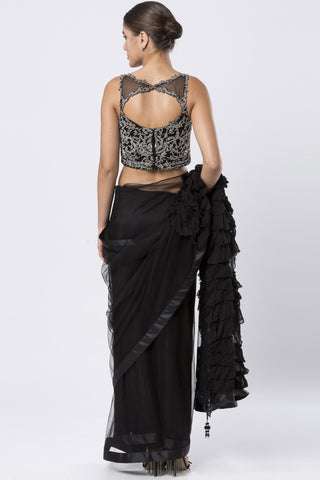 Black Satin Saree & Stone Embroidered Blouse