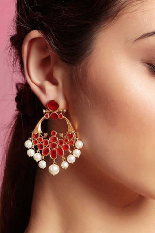 Red Colour Moon Earrings