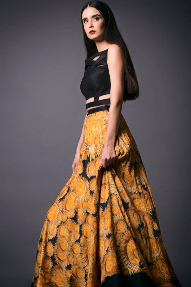 Sunflower Print Skirt and Crop Top Side