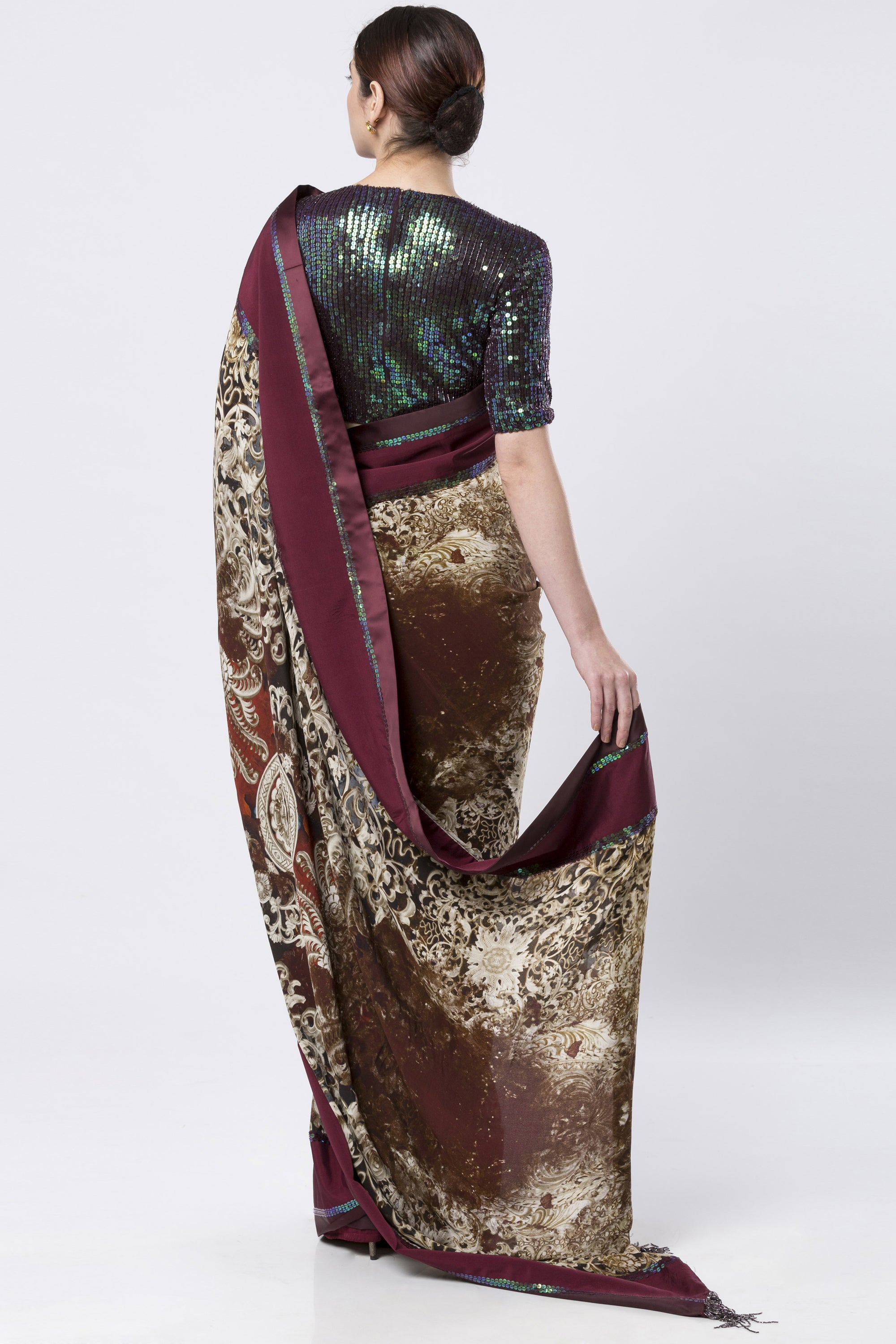 Maroon & Brown Georgette Saree With A Tikki Embellished Blouse