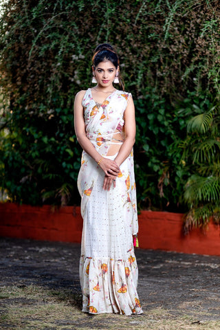Half & Half Printed Saree With Embroideried Blouse FRONT