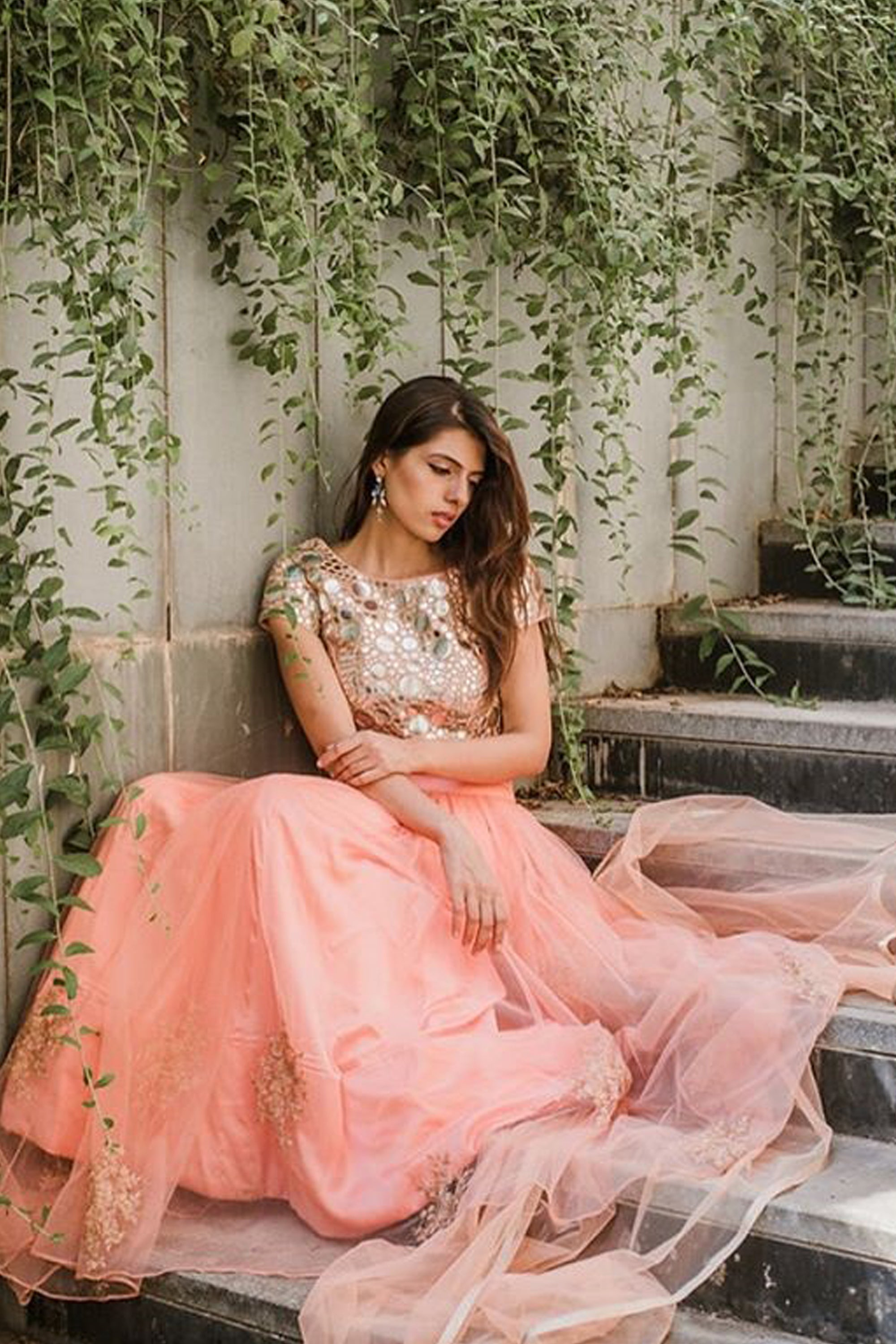 Rose Pink Embroidered Lehenga With Mirror Work Blouse & Dupatta