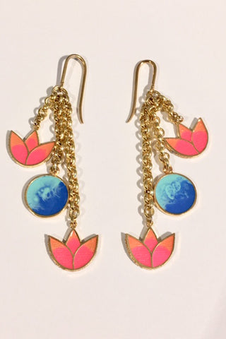 Pink & Sky Blue Small Lotus Earrings