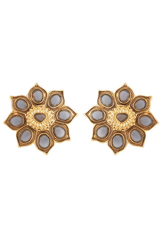 Grey Sun Flower Stud