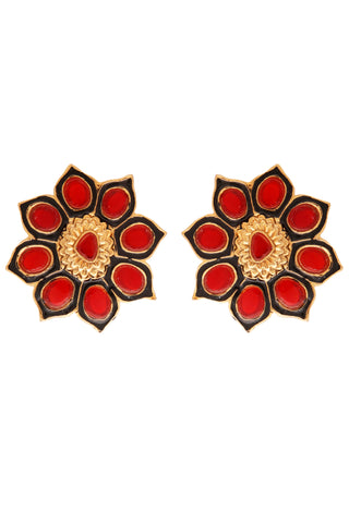 Red Sun Flower Stud