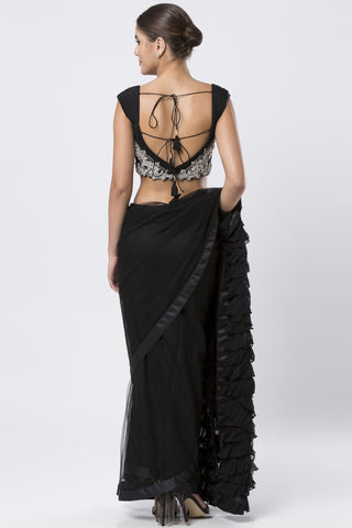 Black Georgette  Saree & Deep Neckline Blouse
