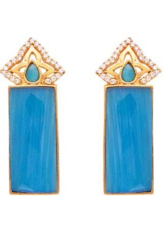 Blue Temple Bar Earrings