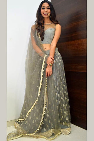 Grey Lehenga With Plain Blouse & Dupatta