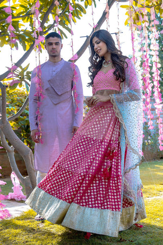 Three Shades Of Pink Lehenga Set SIDE
