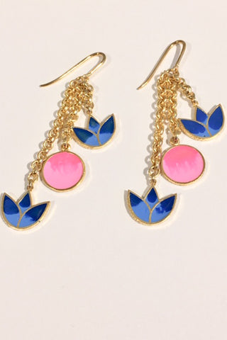 Dark Blue & Pink Small Lotus Earrings