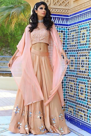 Nude and Rose Pink Mirror Work Lehenga