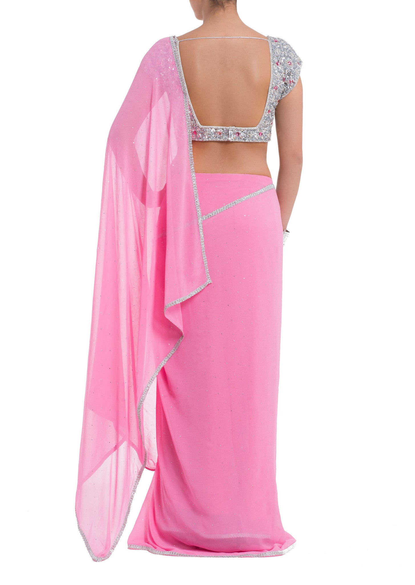Seema Khan Pink Jewelled Saree Front