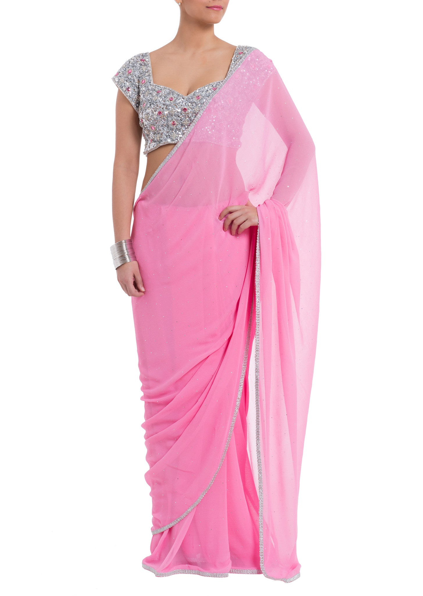 The Bhavana Pandey Pink Jewel Saree