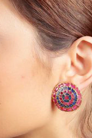 Red Rangoli Earrings